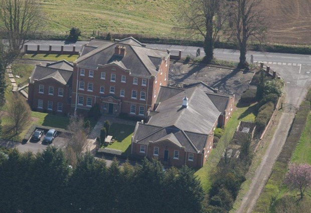 Aerial view of the rear of Grove House